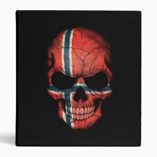 Norwegian Flag Skull on Black Vinyl Binders