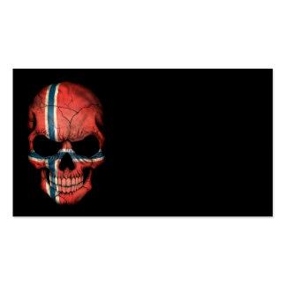 Norwegian Flag Skull on Black Business Card Templates