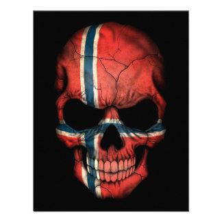 Norwegian Flag Skull on Black Announcement