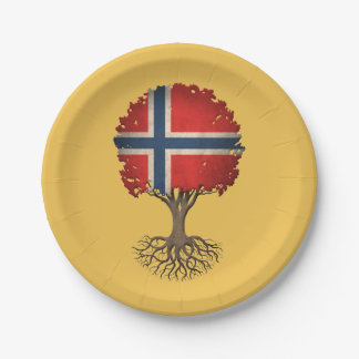 Norwegian Flag Tree of Life Customizable 7 Inch Paper Plate