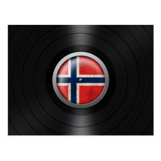 Norwegian Flag Vinyl Record Album Graphic Postcard