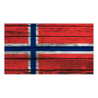 Norwegian Flag with Rough Wood Grain Effect Business Card Template