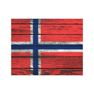 Norwegian Flag with Rough Wood Grain Effect Gallery Wrap Canvas
