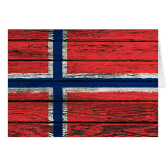 Norwegian Flag with Rough Wood Grain Effect Cards