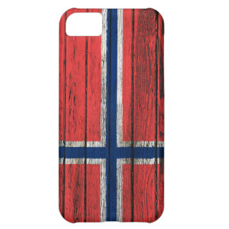 Norwegian Flag with Rough Wood Grain Effect Cover For iPhone 5C