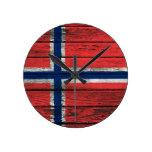 Norwegian Flag with Rough Wood Grain Effect Round Clocks