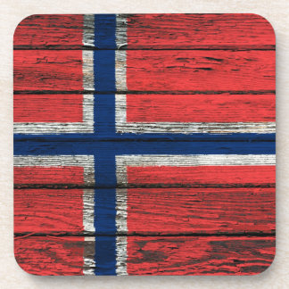 Norwegian Flag with Rough Wood Grain Effect Drink Coasters