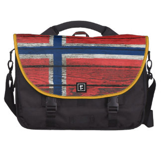 Norwegian Flag with Rough Wood Grain Effect Bag For Laptop