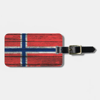 Norwegian Flag with Rough Wood Grain Effect Luggage Tags