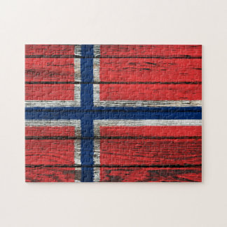 Norwegian Flag with Rough Wood Grain Effect Jigsaw Puzzles