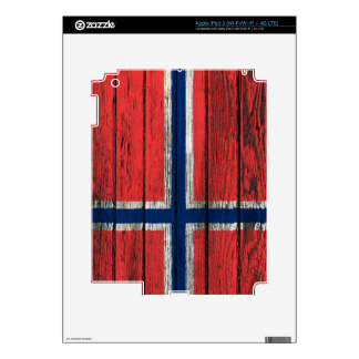 Norwegian Flag with Rough Wood Grain Effect Skins For iPad 3