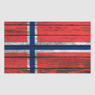 Norwegian Flag with Rough Wood Grain Effect Rectangle Stickers