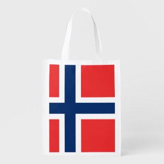 Norwegian flag reusable grocery bags