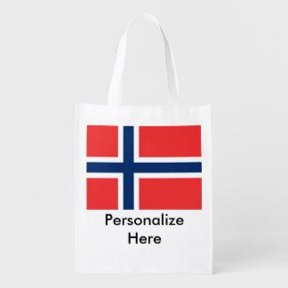 Norwegian Flags Reusable Grocery Bag