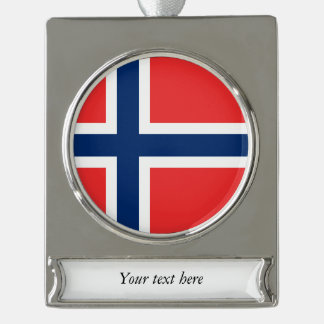 Norwegian Flags Silver Plated Banner Ornament
