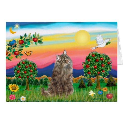 Norwegian Forest Cat - Bright Country Card