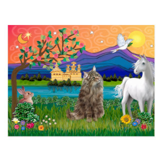 Norwegian Forest Cat - Fantasy Land Postcard