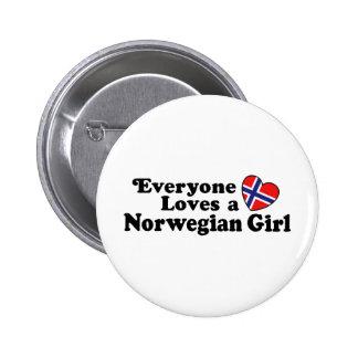 Norwegian Girl 2 Inch Round Button