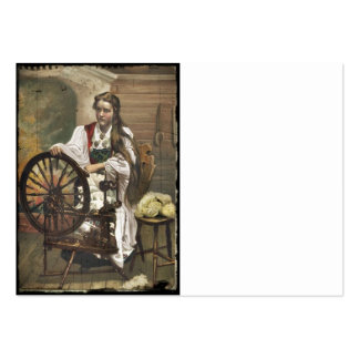 Norwegian Girl a Spinning Wheel Large Business Cards (Pack Of 100)