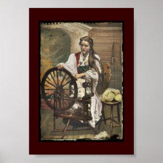 Norwegian Girl a Spinning Wheel Poster