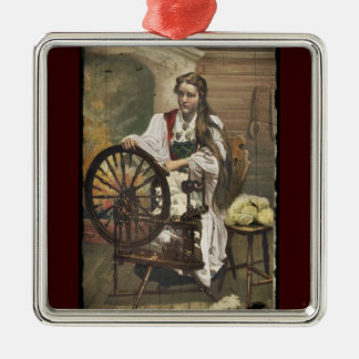 Norwegian Girl at a Spinning Wheel Metal Ornament