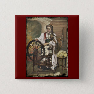 Norwegian Girl at a Spinning Wheel Pinback Button