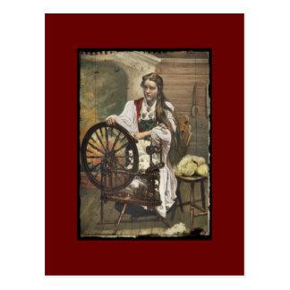 Norwegian Girl at a Spinning Wheel Postcard