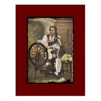 Norwegian Girl at a Spinning Wheel Postcards
