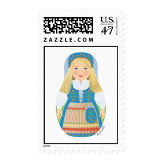Norwegian Girl Matryoshka Stamps