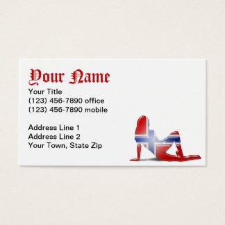 Norwegian Girl Silhouette Flag Business Card