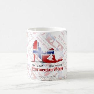 Norwegian Girl Silhouette Flag Coffee Mug