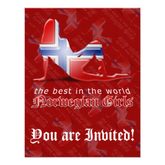 Norwegian Girl Silhouette Flag Personalized Invitation