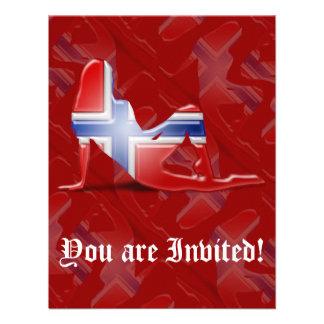 Norwegian Girl Silhouette Flag Custom Invitation