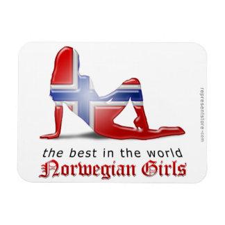 Norwegian Girl Silhouette Flag Magnet