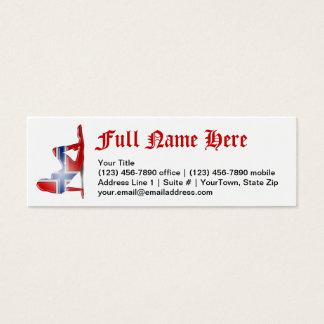 Norwegian Girl Silhouette Flag Mini Business Card