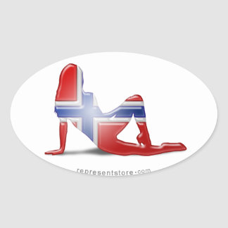 Norwegian Girl Silhouette Flag Oval Sticker