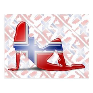 Norwegian Girl Silhouette Flag Postcard