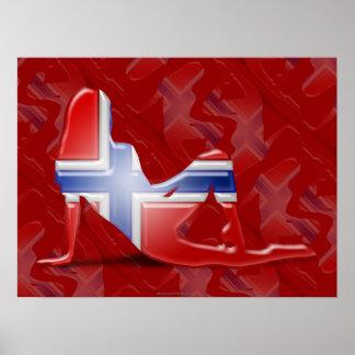 Norwegian Girl Silhouette Flag Poster