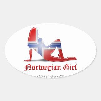 Norwegian Girl Silhouette Flag Sticker