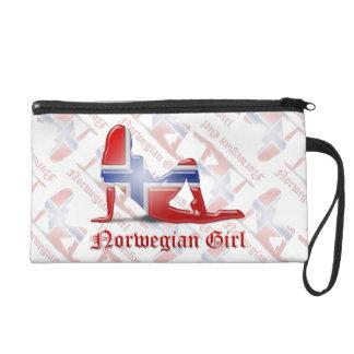 Norwegian Girl Silhouette Flag Wristlet Purse