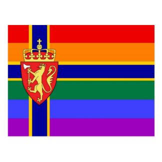 Norwegian GLBT Pride Flag Postcard