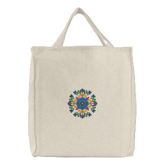 Norwegian Hallingdal Rosemaling Canvas Bag