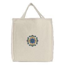 Norwegian Hallingdal Rosemaling Embroidered Tote Bag