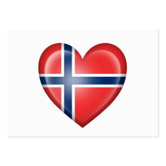 Norwegian Heart Flag on White Business Card Template