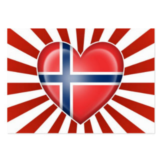 Norwegian Heart Flag with Star Burst Business Card