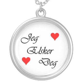"""Norwegian """"I love you"""" Norsk Jeg Elsker Deg Nordic Round Pendant Necklace"""
