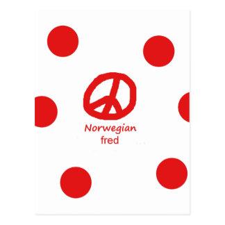 Norwegian Language And Peace Symbol Design Postcard