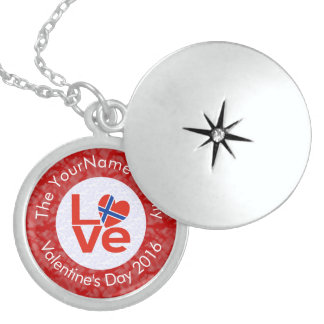 Norwegian LOVE White on Red Locket Necklace