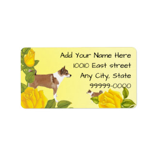 Norwegian Lundehund and Yellow Roses Label
