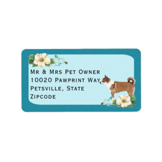 Norwegian Lundehund on Turquoise Floral Label